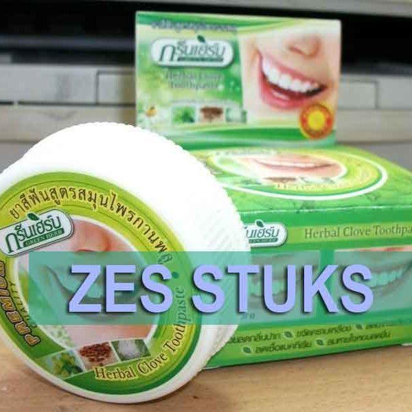 zes stuks kruiden tandpasta